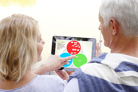 SHARE for Dementia- Two SHARE participants using the SHARE app on a tablet